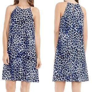 NWT Vince Camuto Blue Leopard Halter Shift Dress